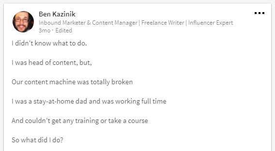 Linkedin Post Ben Kazinik