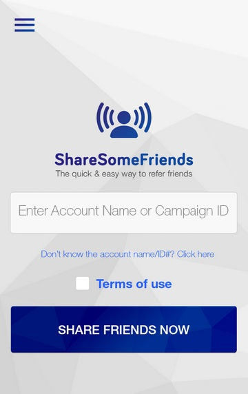 Share Some Friends App Home Screen