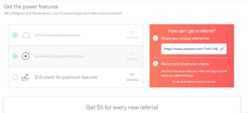 Loom video tool referral program