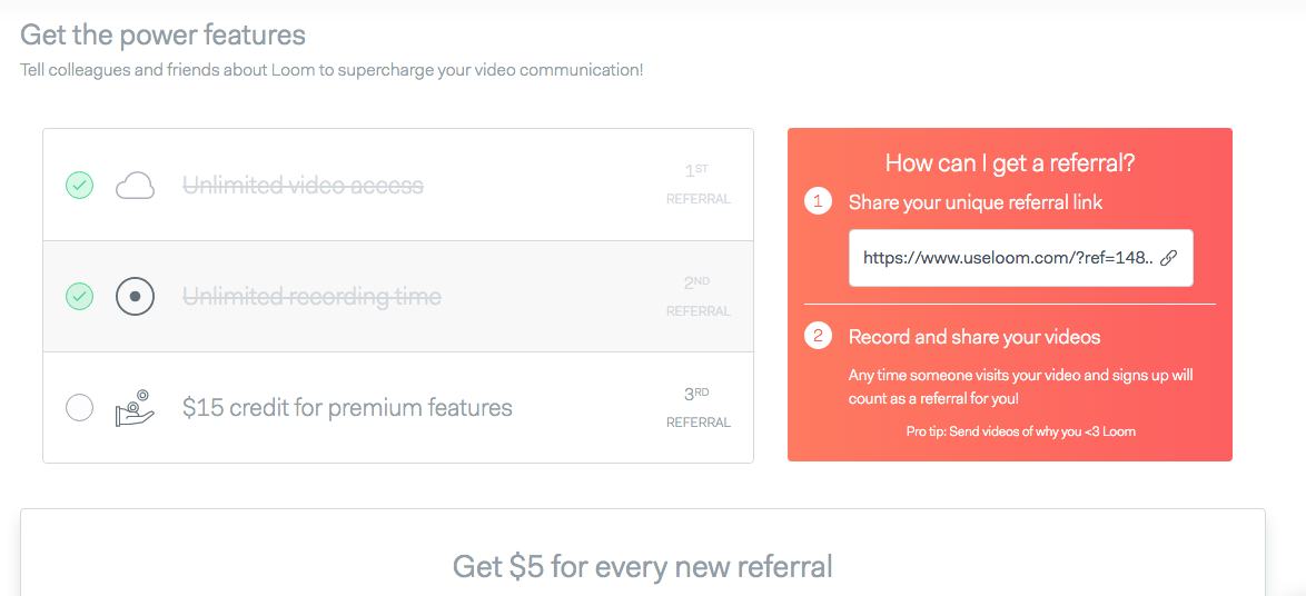 Loom video tool referral program